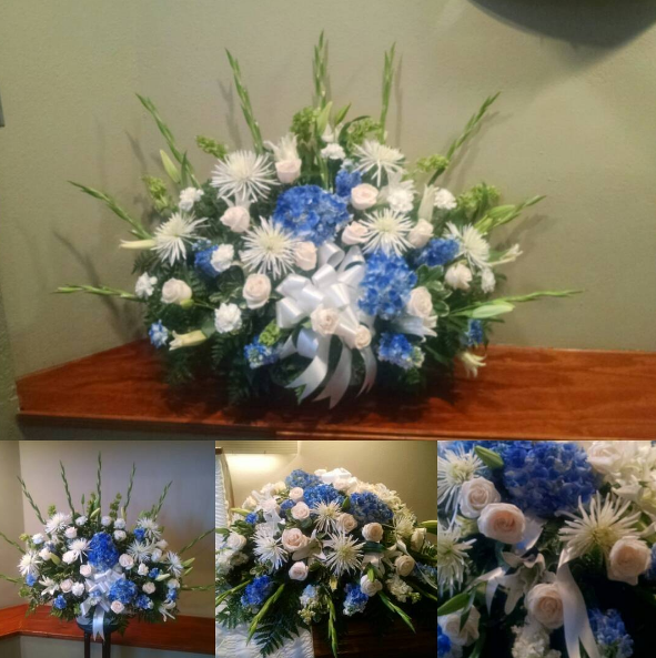 Blue and White Floral Basket