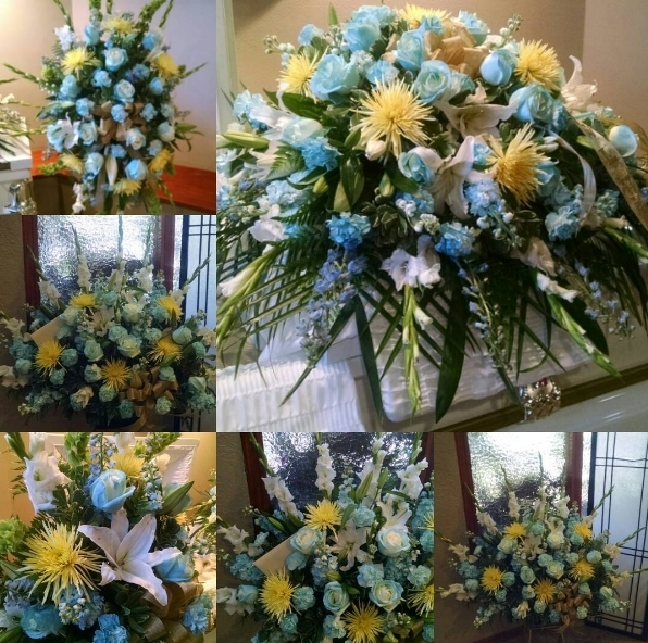 Blue Yellow Casket Spray