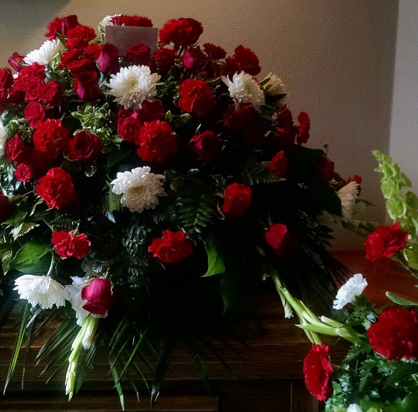 Red Floral White Casket Spray