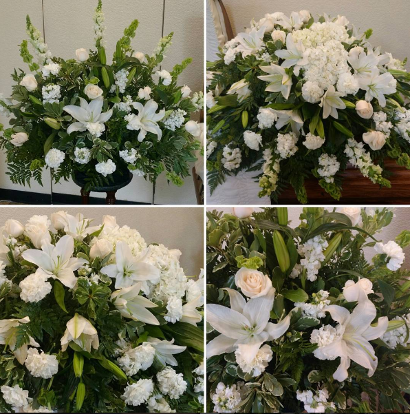 White floral Casket Spray