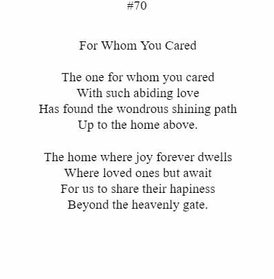 For Whom You Cared