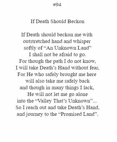 If Death Should Beckon