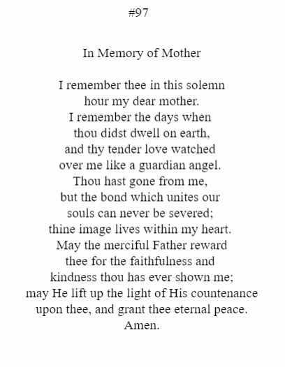 In Memory Of Mother