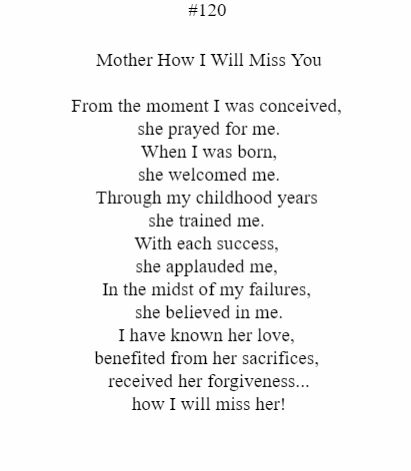 Mother How I Will Miss You