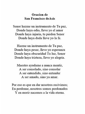 Oracion de San Francisco deAsis