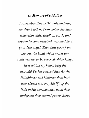 In Memory of a Mother