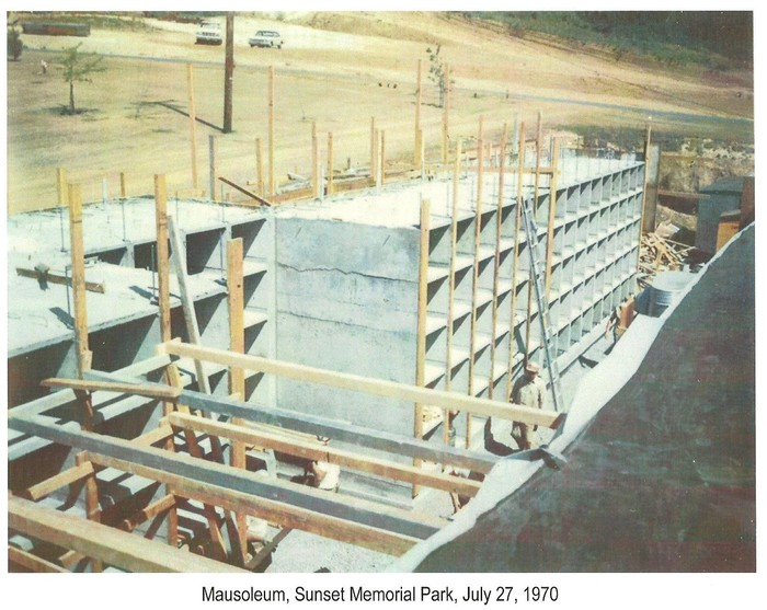 Mausoleum addition construction July 27, 1970.