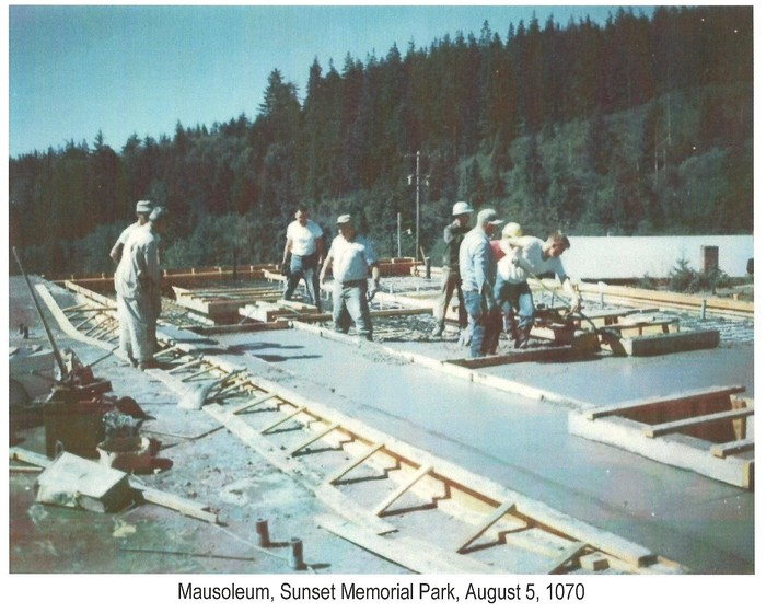 Mausoleum addition construction August 5, 1970.