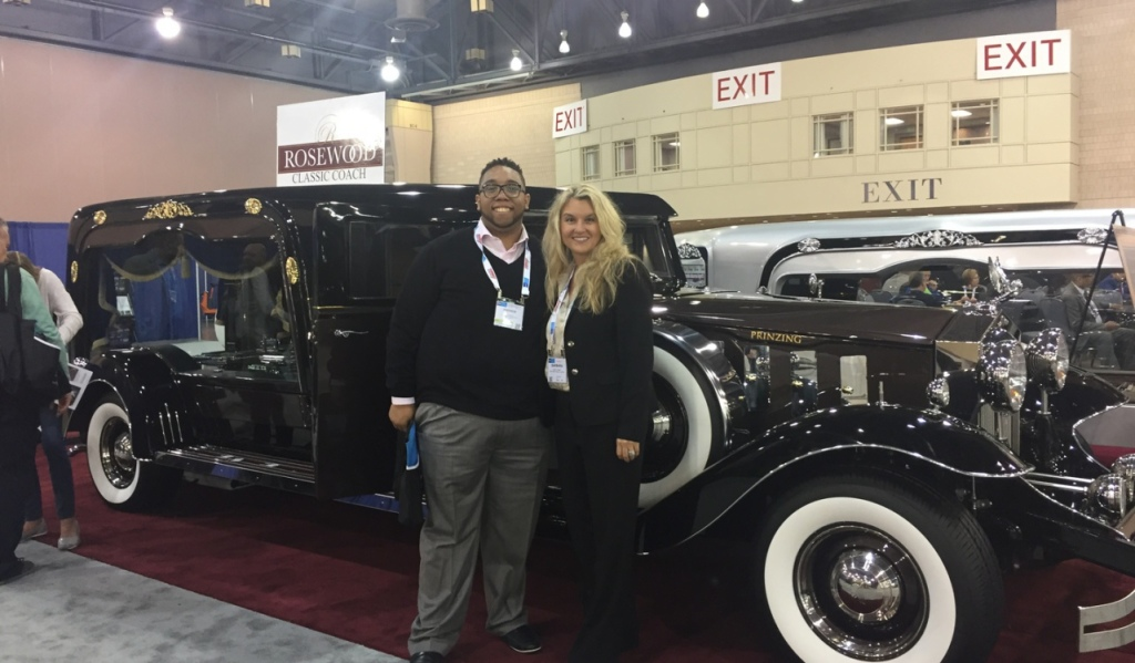 Andrew Ferguson  accepting delivery of Rosewood coach at NFDA in Philidelphia.