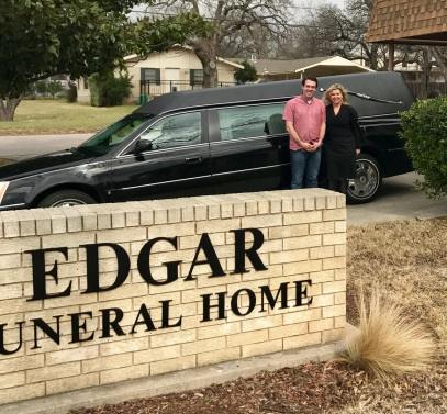 Greg Jenkins of Edgar Jenkins Funeral Home in Burnett, Texas accepts delivery of a new funeral coach from Anna Vaughan Lax. Thanks Greg