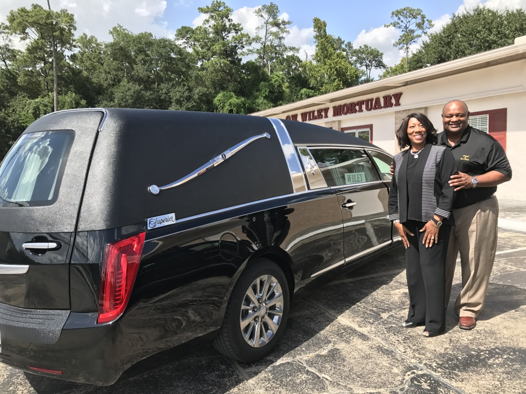 Mr. and Mrs. O.W.Wiley of O.W. Wiley Mortuary in Houston, Texas take delivery of their first new fleet of Superior Coaches. Thank you