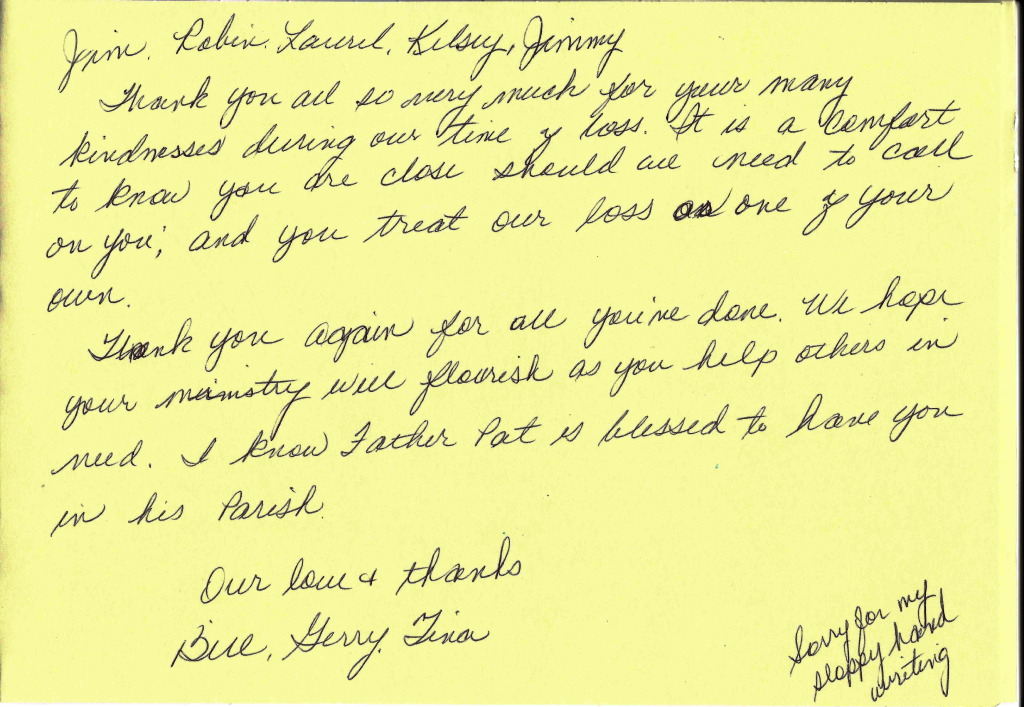 Countryside Funeral Home – Funeral Thank You Note