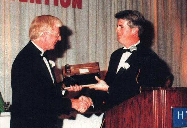 Robert L. Bud Cox being sworn in as Funeral Directors Association of Kentucky President for 1997-1998