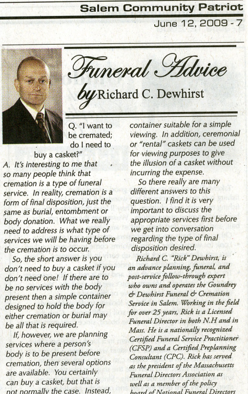 Funeral Advice by Richard Dewhirstc