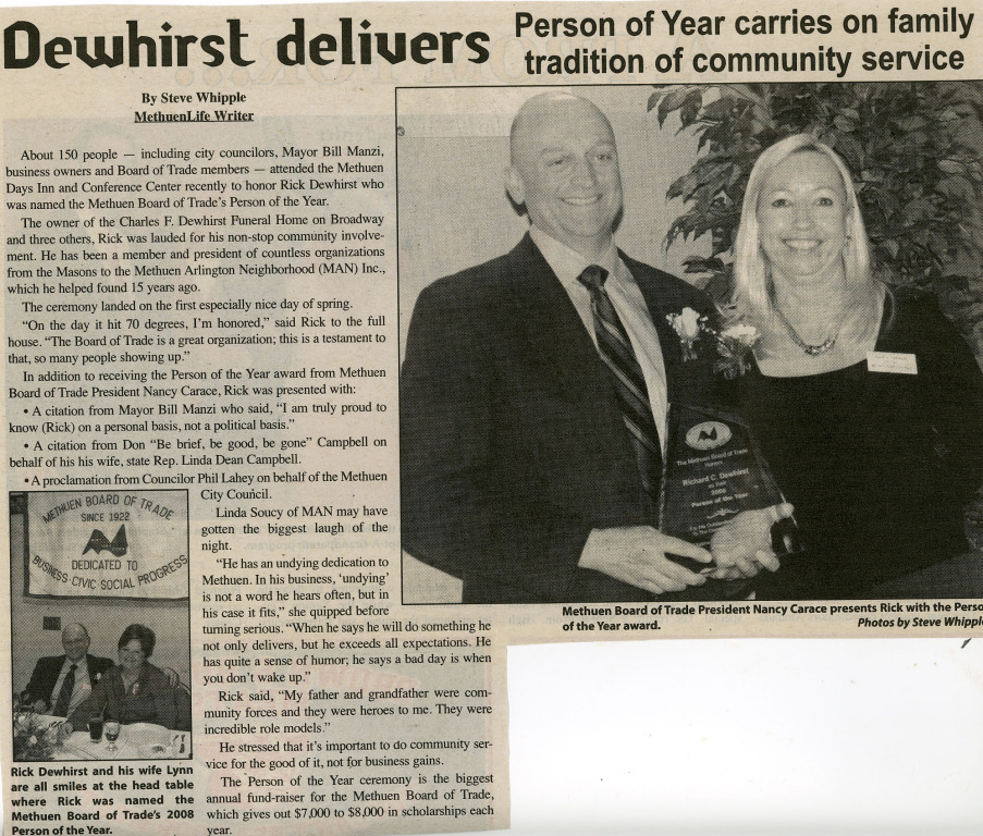 Dewhirst Delivers Person of the Year Carries on Family Tradition of Community Service
