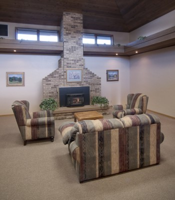 Our Community room provides a warm and inviting setting for family receptions and community events.
