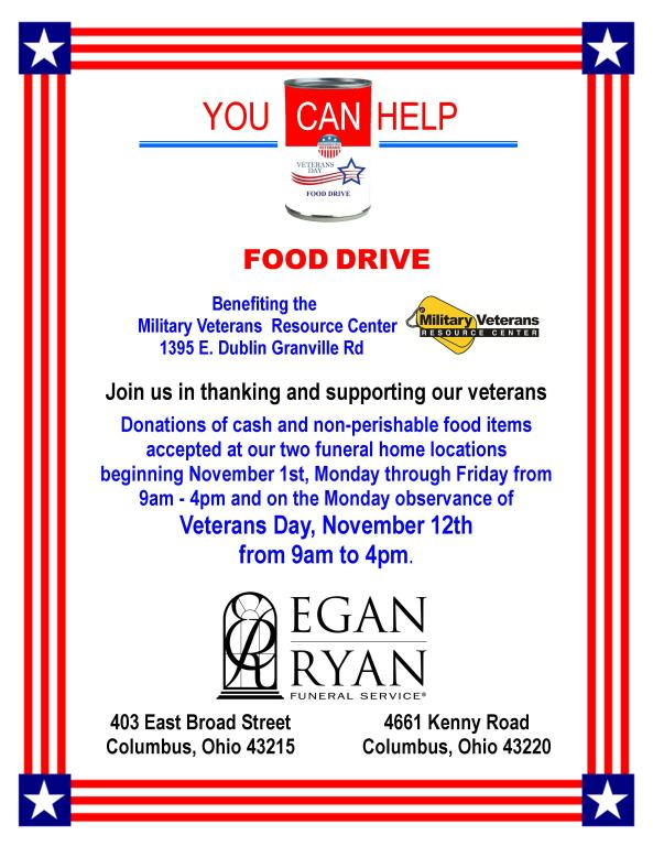 Egan-Ryan Funeral Home's 4th Annual Veterans Day Food Drive November 1st-12th, 2018