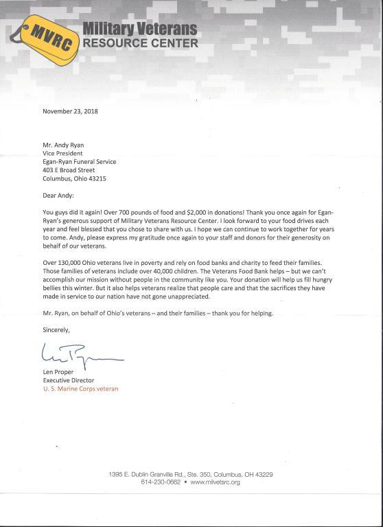 Thank You letter from MVRC for our Veterans Day Food Drive