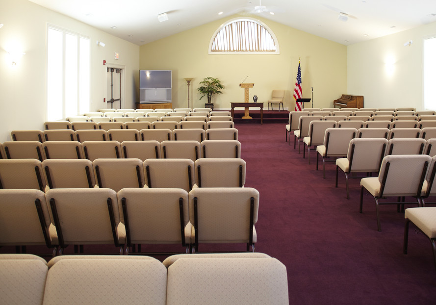 The chapel is rearranged for evening visitations.  This allows more room for fellowship and conversation.