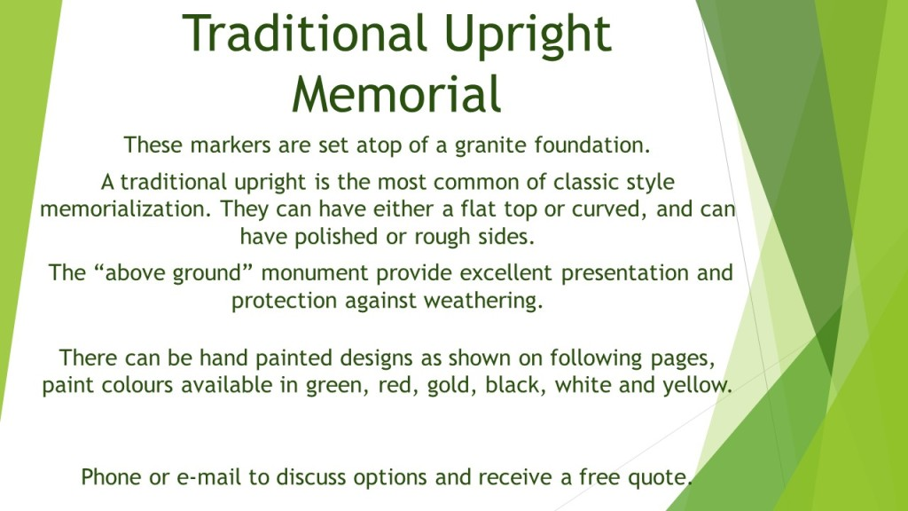 Cemetery Markers and Headstones | Evergreen Cremation Centre