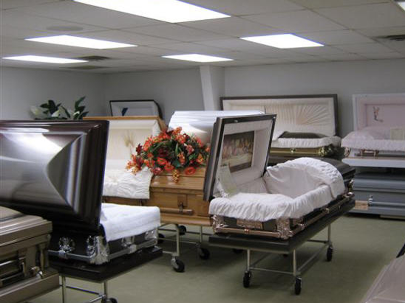 A full selection of high quality hardwood and steel caskets.