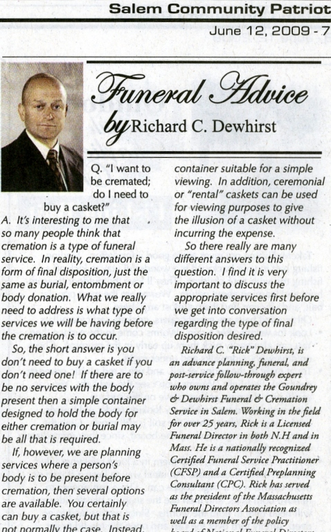 Funeral Advice by Richard Dewhirst
