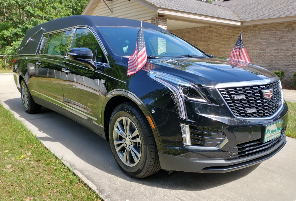 Our funeral coach as equipped for a Veteran's funeral