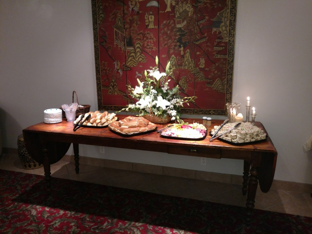 16th Century Monk's Table set for a post-service reception in the Stateroom.