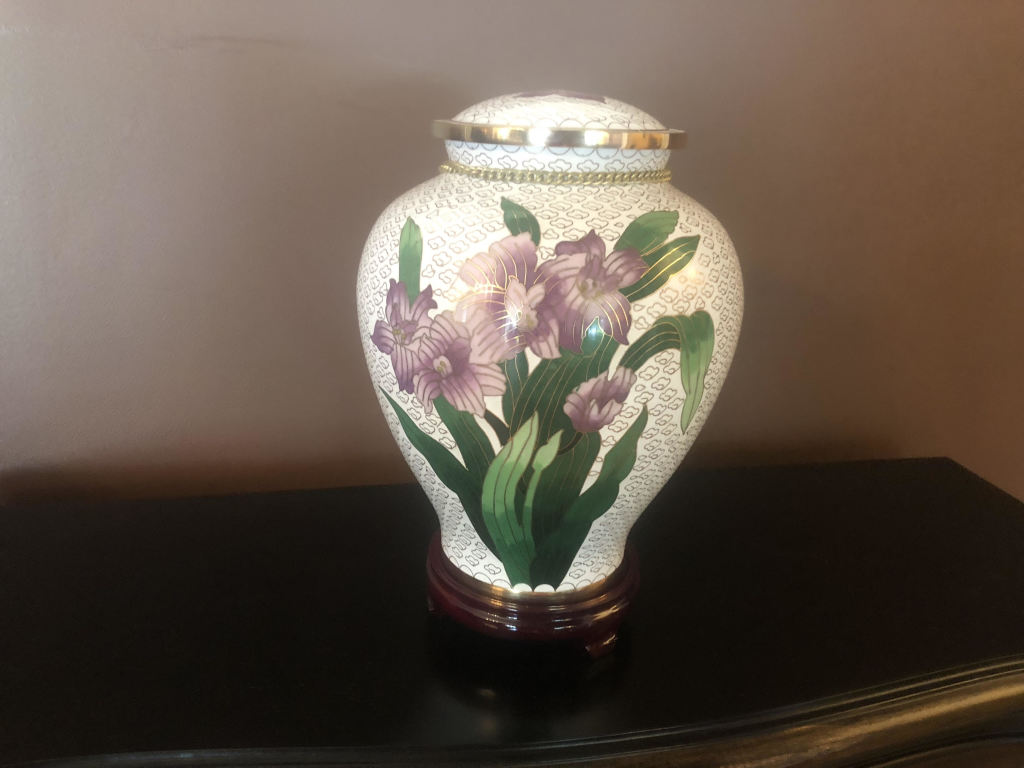 For a dainty lady who loves her flowers and has selected cremation
