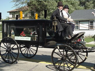 Hearse Driver & Noel Hare in 150 year Parade