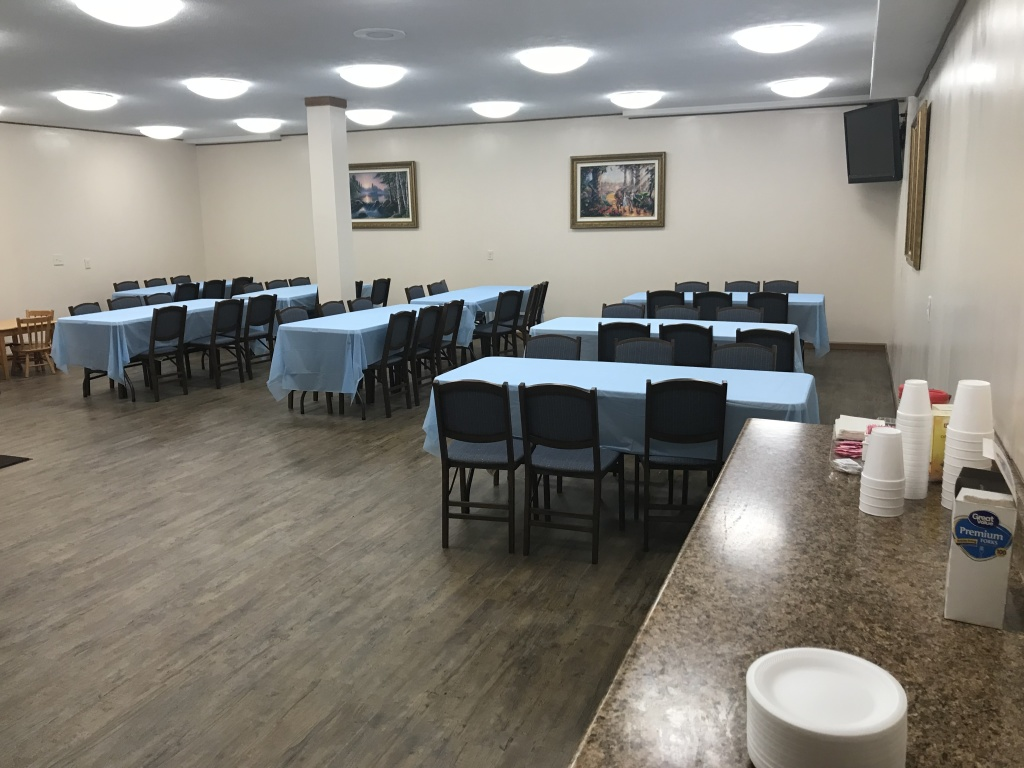 Lower level dining area to cater meals after a funeral service.