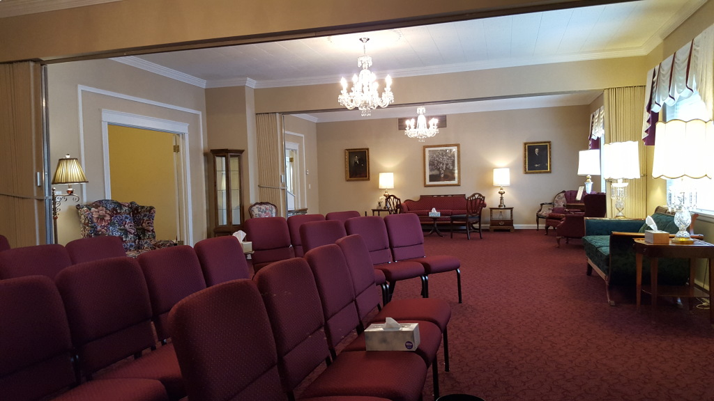 Our West Chapel/Tribute Room (view from the north looking south) available to families for visitations, funerals, and memorial celebrations of life.