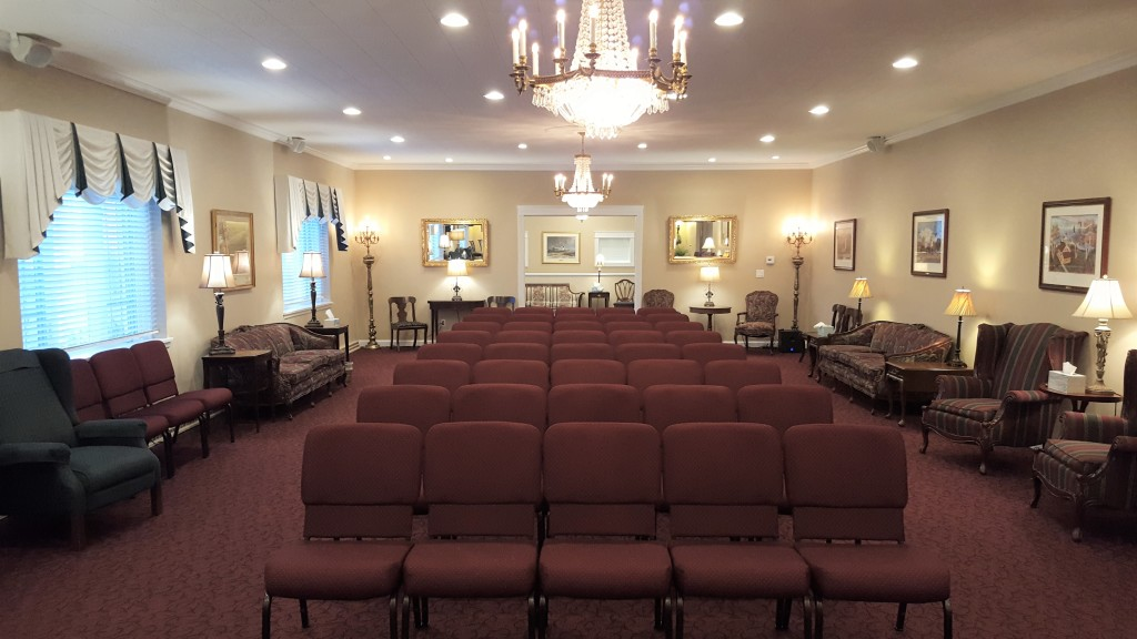 Our East Chapel/Tribute Room (view from the north looking south) available to families for visitations, funerals, and memorial celebrations of life.