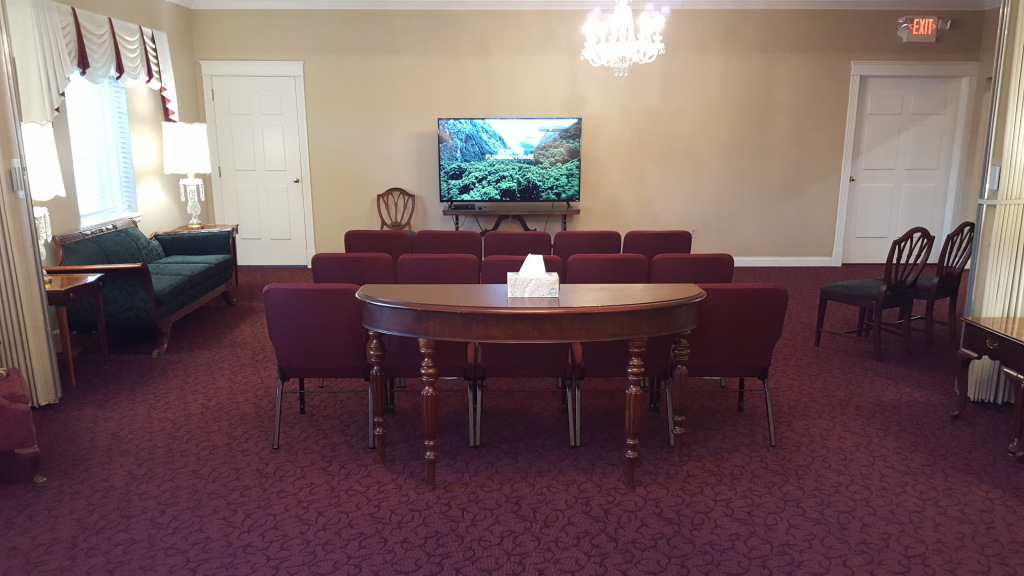 Our Memorial Tribute Video viewing area in our West Chapel/Tribute Room.