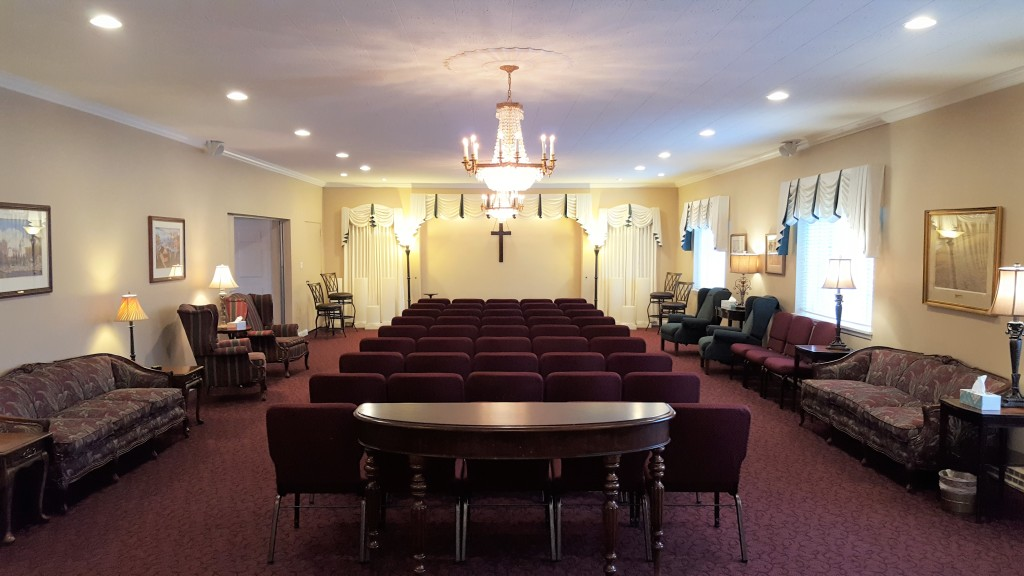Our East Chapel/Tribute Room (view from the south looking north) available to families for visitations, funerals, and memorial celebrations of life.