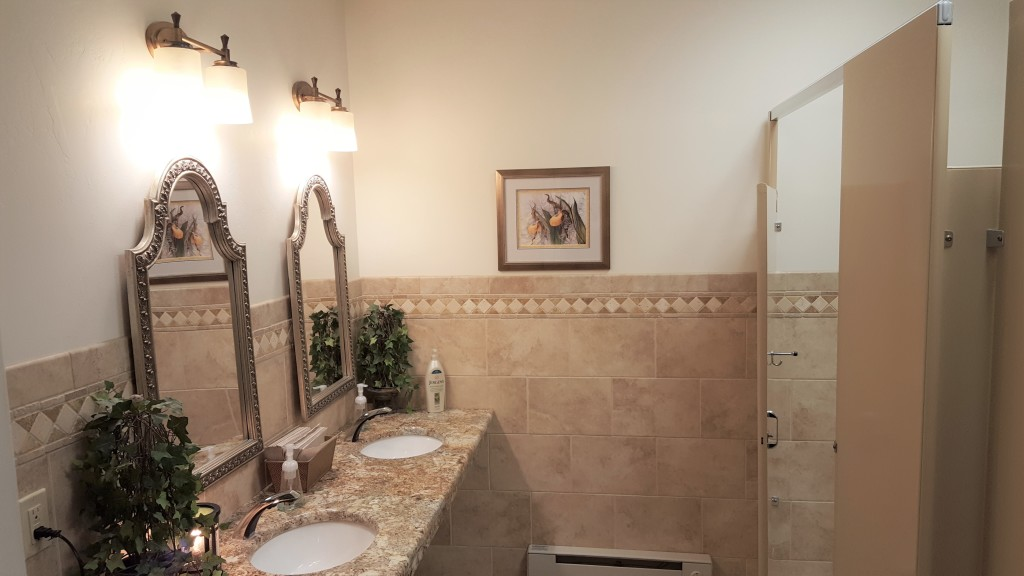 Our women's rest room facilities, just inside the (front) funeral home coffee lounge.