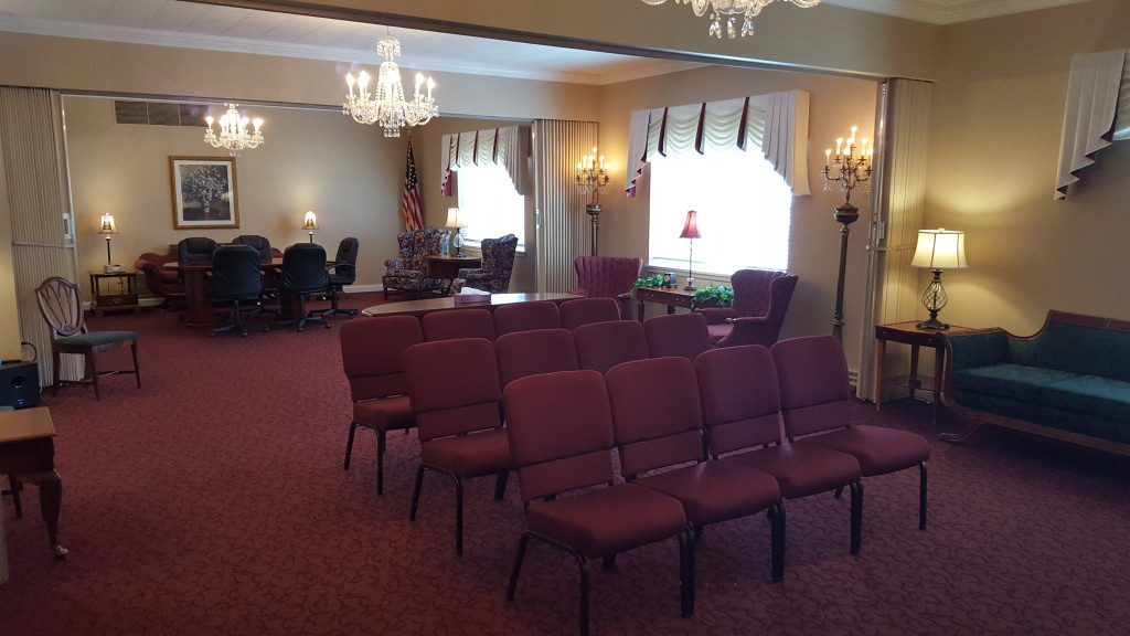 Our West Chapel/Tribute Room (view from the northeast looking southwest) available to families for visitations, funerals, and memorial celebrations of life.