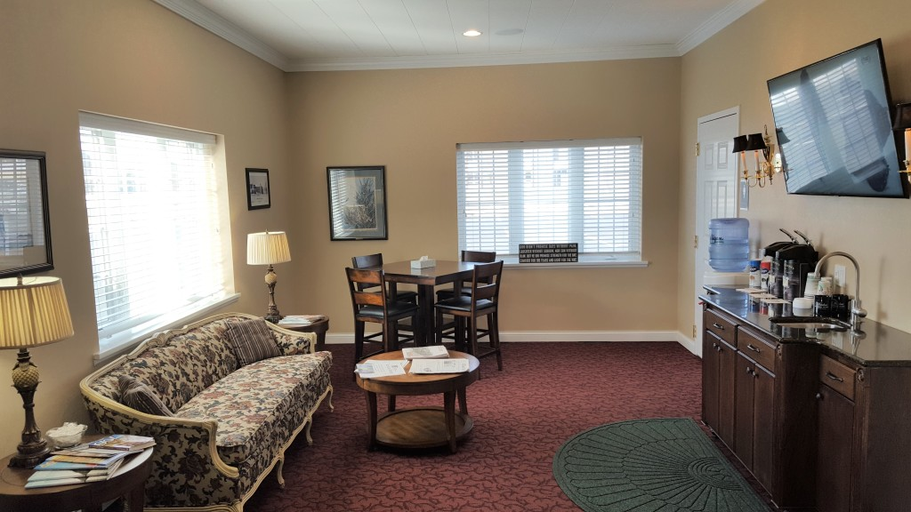Our coffee lounge with (handicap accessible) restrooms available to the public.