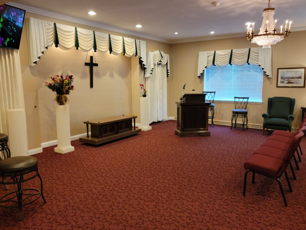 The front of East Chapel/Tribute Room (view from the front of West Chapel looking in).