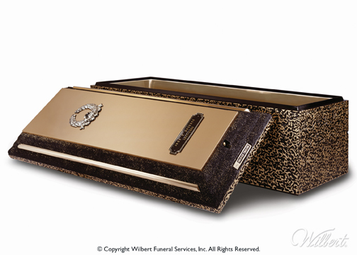 Bronze Triune  Finest double-reinforced Wilbert burial vault. High-strength concrete with bronze and high-impact ABS plastic. Lustrous bronze carapace and accent bars. Includes Memorialization Plus brass capsule, special emblems and customized nameplate.