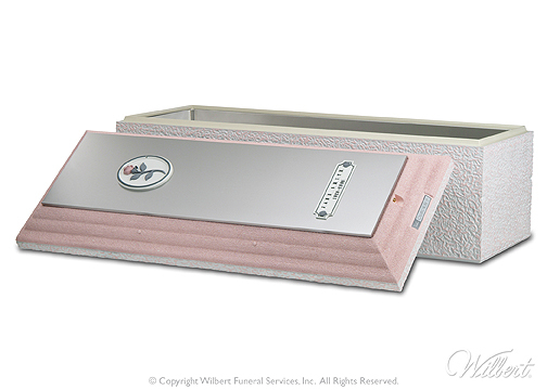Cameo Rose Triune  Mid-line burial vault. Cover and base reinforced with high-impact ABS plastic and strong, corrosion-resistant stainless steel. Brushed stainless steel carapace. Soft white finish with pink accents and sculpted pink rose. Includes Memorialization Plus brass capsule, sculpted pink rose and customized nameplate.