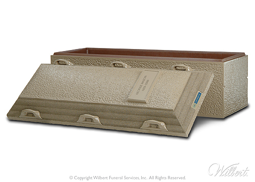 Continental  Single-reinforced burial vault. Durable concrete exterior with Strentex plastic-reinforced cover and base.