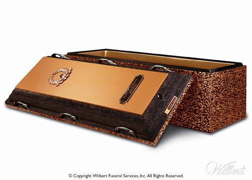Copper Triune  Double-reinforced burial vault. High-strength concrete with copper and high-impact ABS plastic. Rich copper carapace. Includes Memorialization Plus brass capsule, special emblems and customized nameplate.