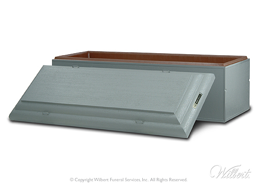 Monticello  Single-reinforced burial vault Concrete exterior with Strentex plastic-reinforced cover and base