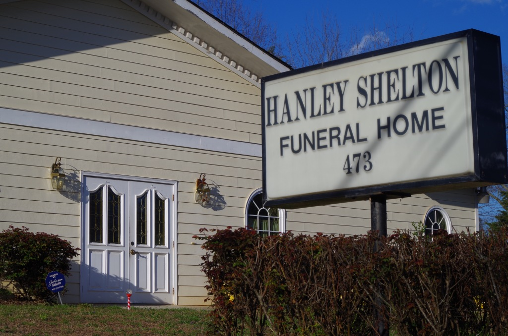 Here is a view of the front entrance of Hanley-Shelton Funeral Directors.