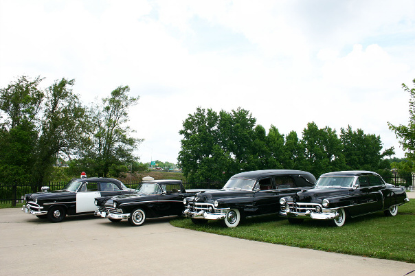 The Jones Funeral Home fleet of antique cars.