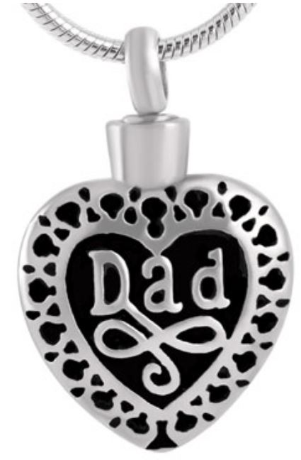 Stainless Steel Filigree Dad Pendant