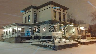 December 2013 the funeral home decorated for Christmas after a light snow on December 5.
