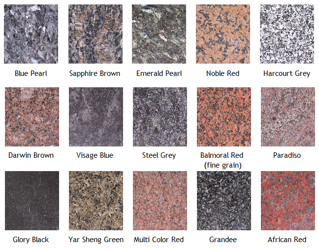 Granite is available in MANY colors