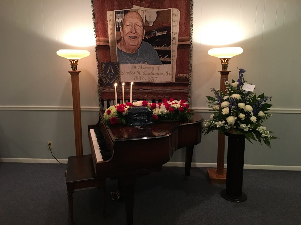 Memorial Set-up for Piano Player and Custom Blanket *